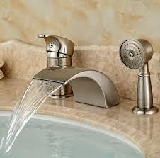 roman tub faucet with hand shower. Brushed Nickel Waterfall Roman Bathtub Mixer Faucet Set With Hand Held Shower Deck Mount 3pcs Tub Taps-in Faucets From Home Improvement On R
