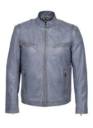 details about arizona mens classic biker fitted designer style light blue nappa leather jacket