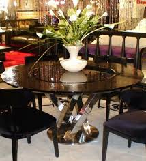 a x spiral round black crocodile lacquer table w lazy susan by vig furniture
