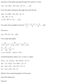 find the equation of plane passing through points 3 4 1 and