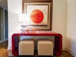 red entry table. Top Red Entry Table With Console And Tan Ottomans This Dynamic Y