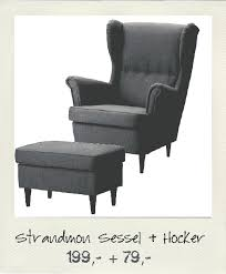 materials ung drill oval black frame and strandmon wing chair footrest