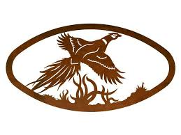 22 oval flying pheasant bird metal wall art