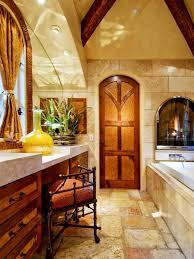 incredible old world bathroom with cream tile wall and cozy bathroom stool also rectangle white bathtub decor idea