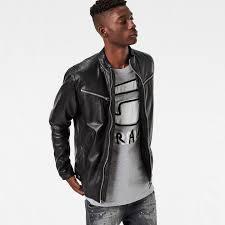 g star raw mower slim leather jacket men black l44e8216 g star