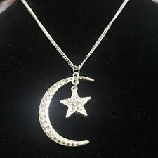 spencers crescent moon and star necklace