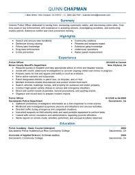 Resume Template Police Officer Resume Example Free Career Resume