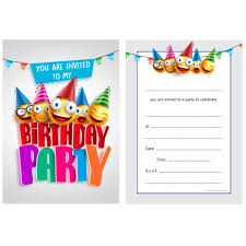 kids birthday party invitations kids birthday party invites childrens fun emoji design invitations a6 postcard style ready to write pack 10
