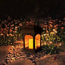 solar powered hand candle lamp patio