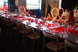 dining place settings. Plenty Of Red Petals And Neon Renderings The AIDS Ribbon Make A Basic Table Dining Place Settings