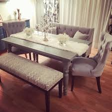 Farmhouse Dining Table Sets My New Grey Rustic Chic Dining Table Set Tufted Velvet Chairs