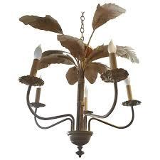 palm tree frond leaf leaves chandelier vintage metal tropical hollywood regency for