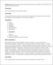 Resume Templates: Training And Development Specialist