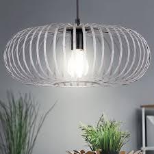 Hänge Leuchte Pendel Schlafzimmer Lampe Metall Käfig Grau Decken