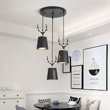 Kronleuchter Modern Kreative Metall Lampenschirm Und Schmiedeeisen Geweih Design Pendelleuchte Minimalistischen Weihnachten Dekoration Beleuchtung