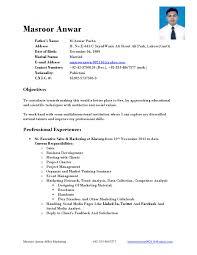 Cv Samples For Mba Hr Fresher Resume Format Marketing Sample Bunch