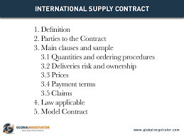 The contracting party named in the contract data who is engaged by the purchaser to provide the goods described in the contract. International Supply Contract Contract Template And Sample