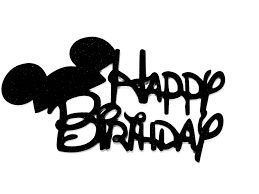 Black Happy Birthday Disney Mickey Mouse Ears Black Glitter Happy Birthday Cake Topper