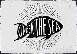ヴィンテージ手描き魚シルエットイラスト素材ダウンロード愛らしい背景