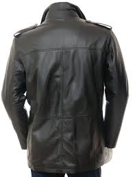 mens leather coat in black avonwick back