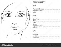 Face Chart Makeup Artis Blank Face Charts Stock Photo