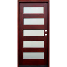 pacific entries 36 in x 80 in contemporary 5 lite mist lite stained mahogany