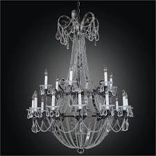 image of large wrought iron crystal chandelier