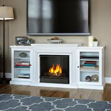 entertainment center ventless gel fuel fireplace in white