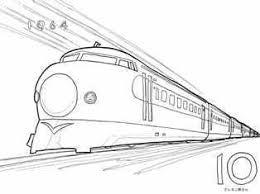 新幹線開通記念切手の塗り絵の下絵画像