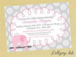 Pink Elephant Baby Shower Printable Invitation Personalized Pink