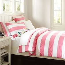 red and white rugby stripe feminine style cute girly themed traditional 100 cotton twin full queen size bedding sets