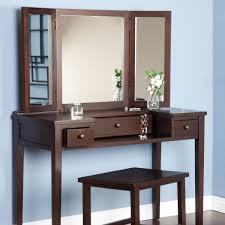 vanity desk with mirror target glass top glass wall panel double drawer bar stretcher