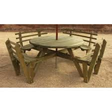 round 8 seat picnic table with backrest