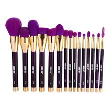 15pcs makeup brush set eye face lip blush cosmetic tool purple intl