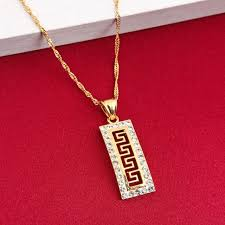 greek key luxury fashion pendant chain women 24k gold color zircon pendant necklace for women birthday gift