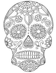 Small Picture Day of the Dead Skull Coloring Pages coloringsuitecom