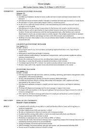 Inventory Manager Resume Samples | Velvet Jobs