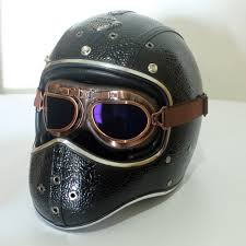 details about vintage full face motorcycle helmet w goggles handmade leather cruiser scooter