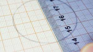 Close Up Of Drawing On The Graph Paper Studying Geometry Beginner D485_3_961