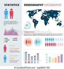 Infographic Concept Design Of People Population Demographic Vector Illustrations With Economic Charts And Graphs And Place For Your Text