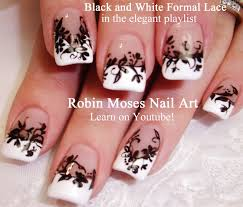 Robin Moses Nail Art: Sheer Matte Black Nails With Floral Lace ...