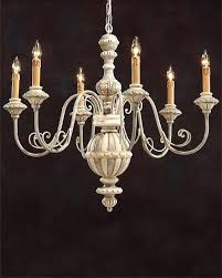 gray wood chandelier carved wood chandelier with wrought iron arms and hand painted antique white and