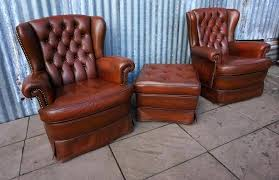 tufted leather wing chair vintage tufted leather armchairs with ottoman set chair of 3 red wing