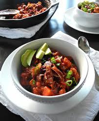 chorizo sausage sweet potato chili with bacon paleorunningmomma