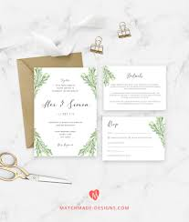 Easy Invitation Templates Pine Wedding Invitation Template Greenery Wedding Invite