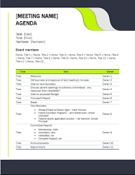 Business Agenda Education Meeting Agenda