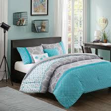 Peace Sign Bedroom Home D Cor Full Queen Size Aqua Geometric Blue Gray Comforter