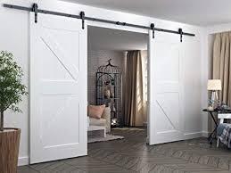 diyhd 10ft arrow hanger double sliding barn door hardware bi parting barn door track system
