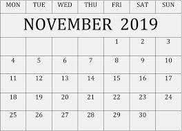 Blank Editable Calendar November 2019 Printable Calendar Editable Template Free