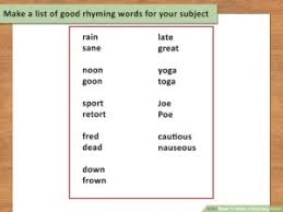 How To Write A Rhyming Poem